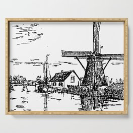 Dutch scene with windmill and house near a canal and freight boat Serving Tray