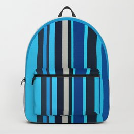very dark blue and medium turquoise colored stripes Backpack