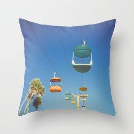 Santa Cruz Boardwalk Gondolas II Throw Pillow