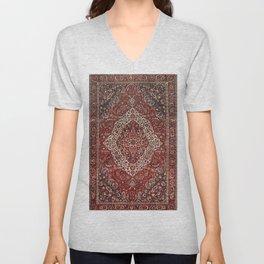 Persian Bakhtiari Old Century Authentic Colorful Deep Dark Red Tan Vintage Patterns Unisex V-Neck