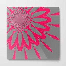 The Modern Flower Gray & Pink Metal Print