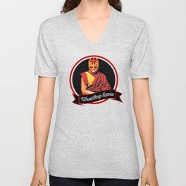Wrestling Lama – Dalai Lama humor & Budism funny joke design Unisex V-Neck