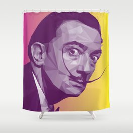 Salvador Dali Low Poly Collection Shower Curtain