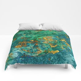 Malachite and Gold Glitter Stone Ink Abstract Gem Glamour Marble Comforters