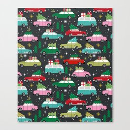 Christmas pattern print vintage cars holiday gifts presents christmas trees cute decor Canvas Print