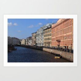 Embankment of the Moika River. Facades of buildings of St. Petersburg. Art Print