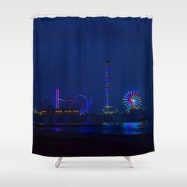 Galveston Pleasure Pier At Night Shower Curtain