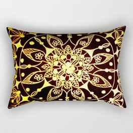 Gold Metallic Mandala on Black Background #2 Rectangular Pillow