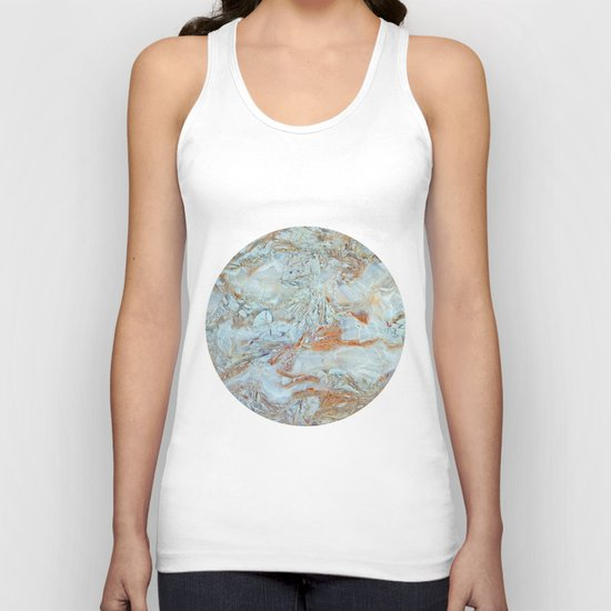 Marble in shades of blue and gold Unisex Tank Top