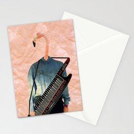 Keytar flamingo person Stationery Cards