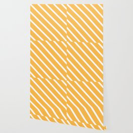 Cantaloupe Diagonal Stripes Wallpaper