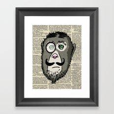 Detective Monkey Head Framed Art Print