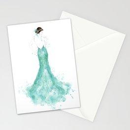 Fashion illustration mermaid dress in mint Stationery Cards