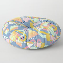 Rainbow Prism Candy Abstract Pattern Blue  Floor Pillow