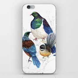 thee birds in a tree iPhone Skin