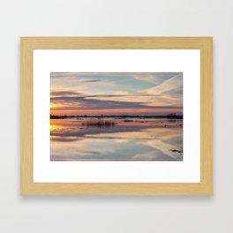 Sunrise over Biebrza river in Poland Framed Art Print