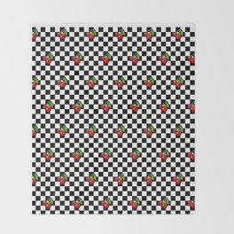 Checkered Cherries Throw Blanket