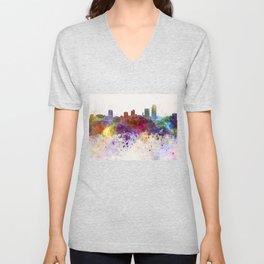 Little Rock skyline in watercolor background Unisex V-Neck