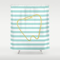 dentist Shower Curtains featuring Aqua Stripes with Gold Tooth by Dental Chic