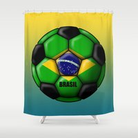 brasil Shower Curtains featuring Brasil Ball by kuuma