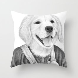 My Boy The Golden Retreiver Throw Pillow