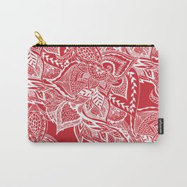 Modern red flame scarlet white hand drawn floral mandala pattern Carry-All Pouch