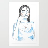 dentist Art Prints featuring Do-It-Yourself Dentist by Seashi