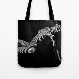 0067-DJA Zebra Nude Woman Yoga Black White Abstract Curves Expressive Line Slim Fit Girl  Tote Bag