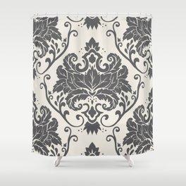 Luxury Floral Damask Pattern – Neutral Dark Gray and Cream Shower Curtain