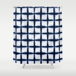 Shibori Squares Shower Curtain