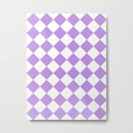 Large Diamonds - White and Light Violet Metal Print