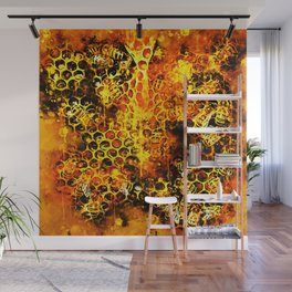 bees fill honeycombs in hive splatter watercolor Wall Mural