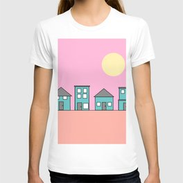 Pink Sky - Row of Houses T-shirt