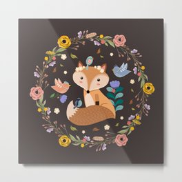 Little Princess Fox With Friends And Foliage Metal Print