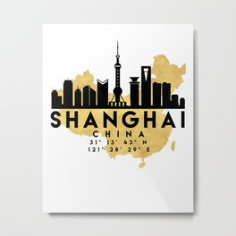 SHANGHAI CHINA SILHOUETTE SKYLINE MAP ART Metal Print