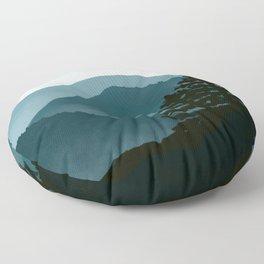 Blue Landscape Mountains Floor Pillow