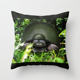Slow Commando - Army Turtle Throw Pillow