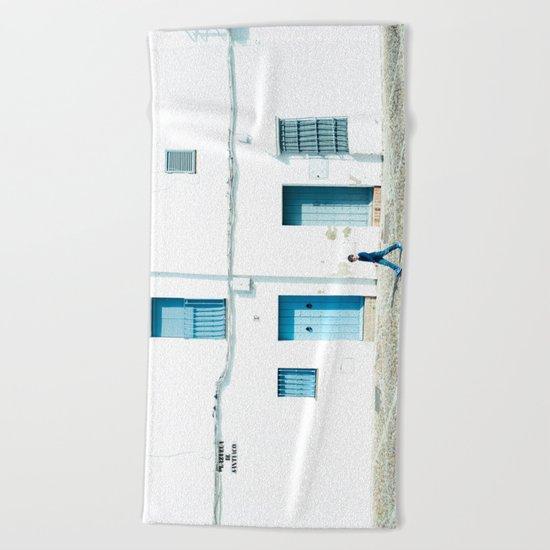 White and blue town Beach Towel