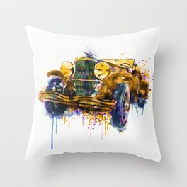 Oldtimer Automobile Watercolor Painting Throw Pillow