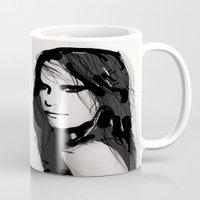 vogue Mugs featuring Face- Vogue by Allison Reich