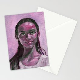 Oil painting - Girl Portrait #7 Stationery Cards