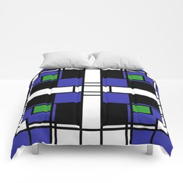 Neoplasticism symmetrical pattern in sapphire blue Comforters
