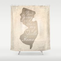 new jersey Shower Curtains featuring New Jersey Love by Artsy B