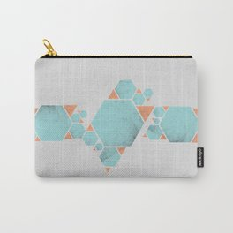 Geometric Hexagons and Triangles Carry-All Pouch
