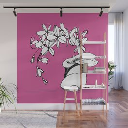 Happy Easter Pink Bunny and Flowers Wall Mural