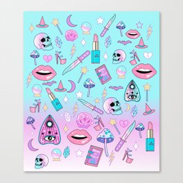 Girly Pastel Goth Witch Pattern Canvas Print