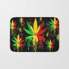 Marijuana Leaf Rasta Colors Dripping Paint Bath Mat
