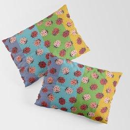 All over Modern Ladybugs on Retro Rainbow Background Pillow Sham
