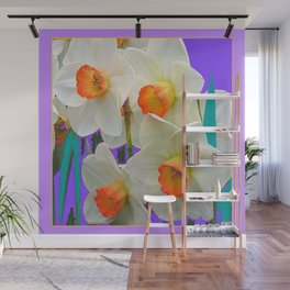 WHITE-GOLD NARCISSUS FLOWERS LAVENDER GARDEN Wall Mural