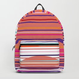 Sunset colorful stripes and sun pattern Backpack